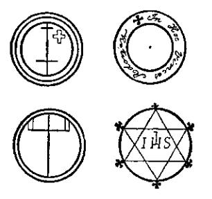 Three small pentacles of Solomon, and a pentacle of St. John
